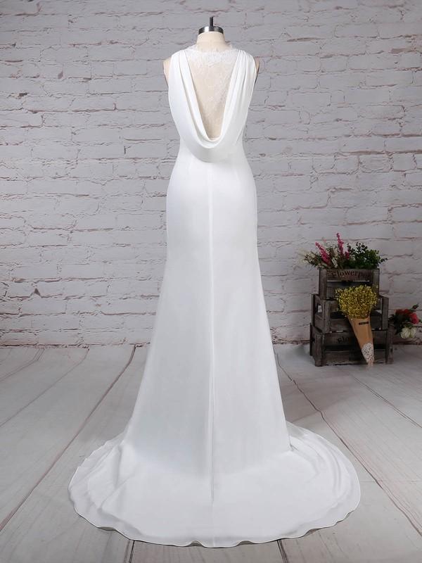 Lace Satin Chiffon Scoop Neck Sheath/Column Sweep Train Appliques Lace Wedding Dresses #LDB00023257