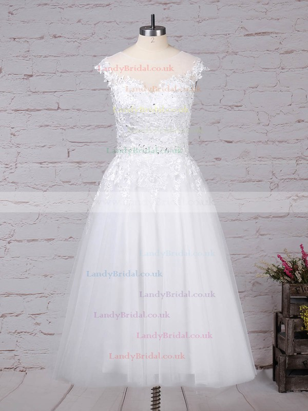 Tulle Scoop Neck Ball Gown Tea-length Beading Wedding Dresses #LDB00023268