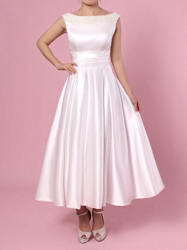 Satin Scoop Neck Princess Tea-length Bow Wedding Dresses #LDB00023269