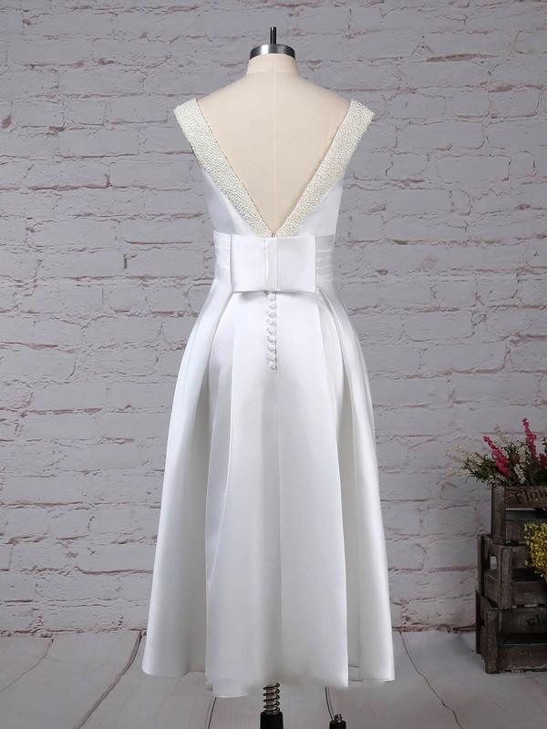 Satin Scoop Neck Princess Tea-length Bow Wedding Dresses #LDB00023269