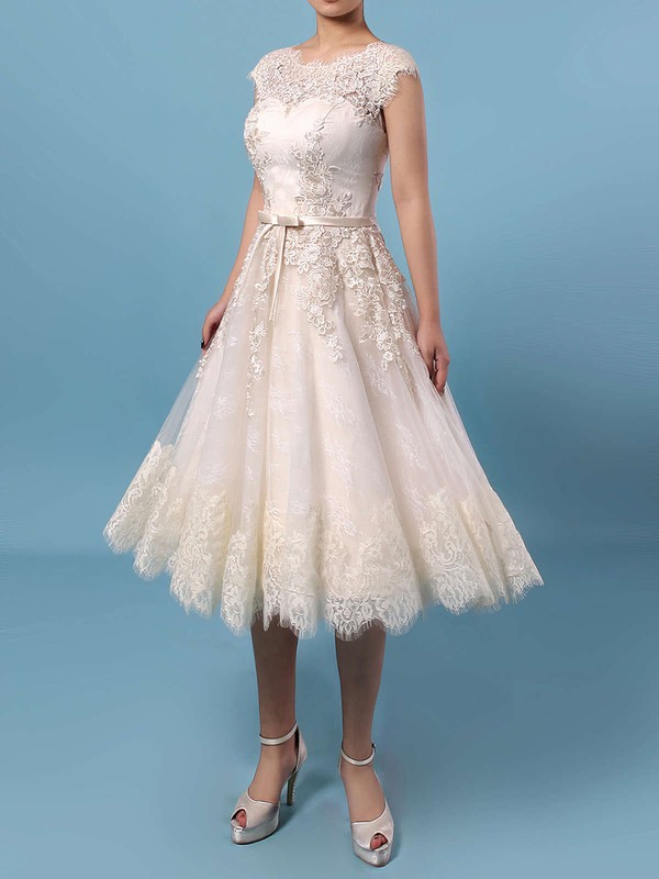 Lace Tulle Scoop Neck A-line Knee-length Appliques Lace Wedding Dresses #LDB00023302
