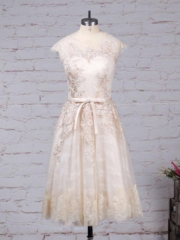 Lace Tulle Scoop Neck A-line Knee-length Appliques Lace Wedding Dresses #LDB00023302
