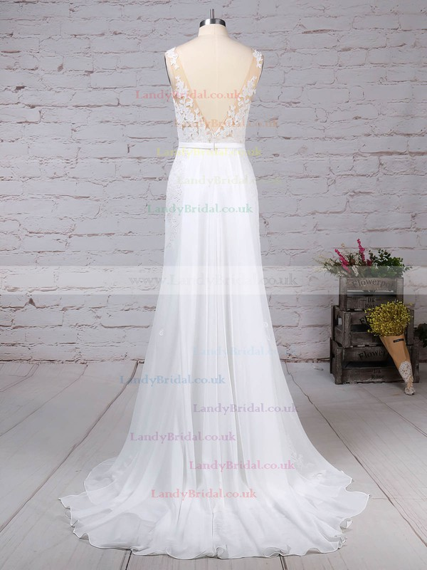 Chiffon Scoop Neck Trumpet/Mermaid Watteau Train Appliques Lace Wedding Dresses #LDB00023156