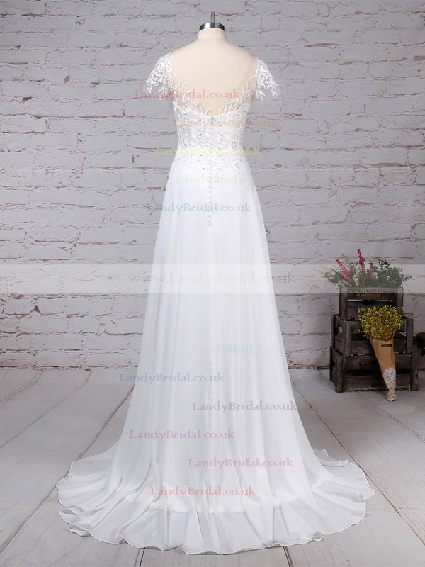 Satin Tulle Scoop Neck Ball Gown Sweep Train Appliques Lace Wedding Dresses #LDB00023170