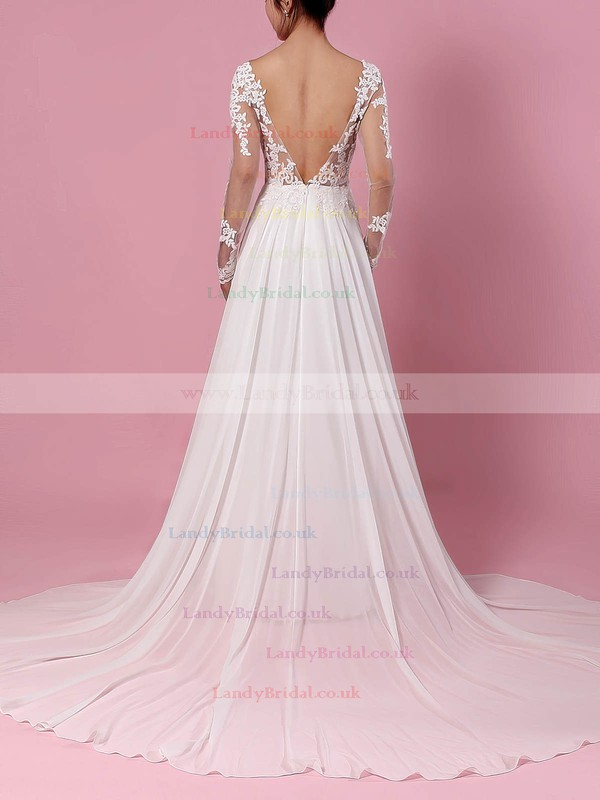 Chiffon Tulle Scoop Neck A-line Sweep Train Appliques Lace Wedding Dresses #LDB00023209