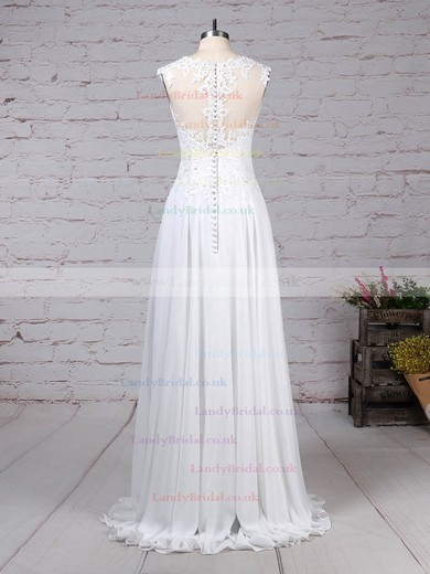 Chiffon Tulle Scoop Neck A-line Floor-length Appliques Lace Wedding Dresses #LDB00023305