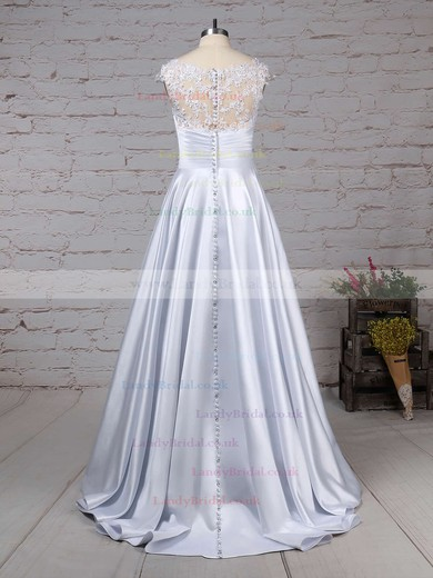 Satin Tulle Scoop Neck Ball Gown Floor-length Appliques Lace Wedding Dresses #LDB00023313
