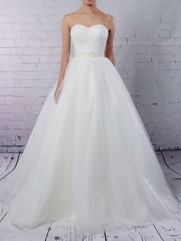 Tulle Sweetheart Ball Gown Sweep Train Sashes / Ribbons Wedding Dresses #LDB00023153