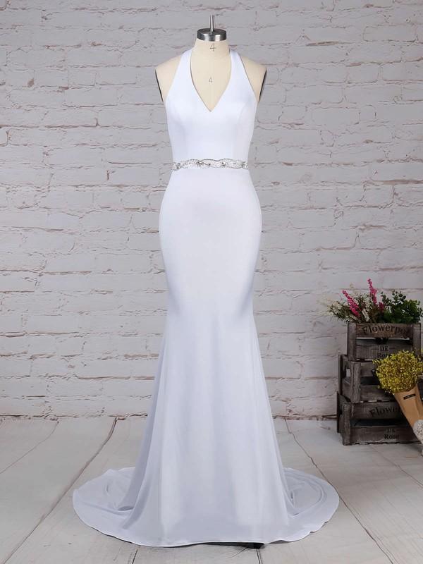 Satin Chiffon Halter Trumpet/Mermaid Sweep Train Sashes / Ribbons Wedding Dresses #LDB00023155