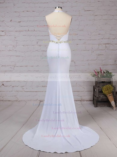 Satin Chiffon Halter Trumpet/Mermaid Sweep Train Sashes / Ribbons Wedding Dresses #LDB00023155