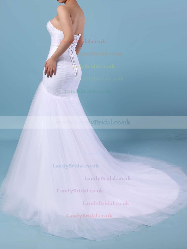 Tulle Sweetheart Trumpet/Mermaid Sweep Train Ruched Wedding Dresses #LDB00023219