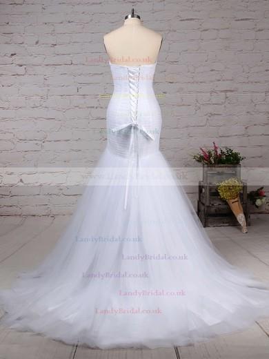 Tulle Sweetheart Trumpet/Mermaid Sweep Train Ruched Wedding Dresses #LDB00023219