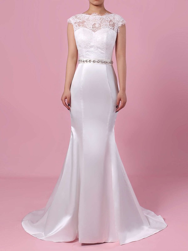 Lace Satin Scoop Neck Trumpet/Mermaid Sweep Train Beading Wedding Dresses #LDB00023227