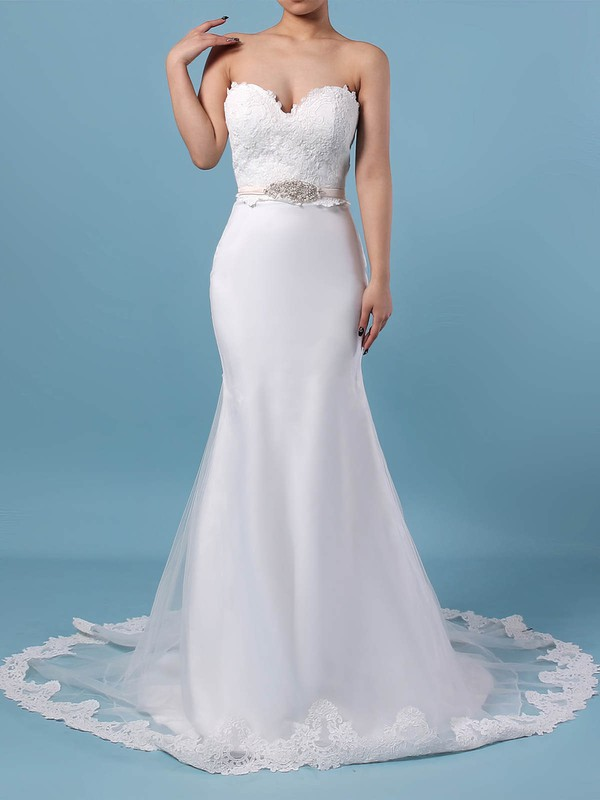 Lace Organza V-neck Trumpet/Mermaid Sweep Train Appliques Lace Wedding Dresses #LDB00023228