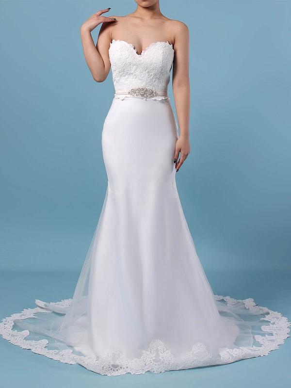 Lace Organza V-neck Trumpet/Mermaid Sweep Train Appliques Lace Wedding Dresses #LDB00023228