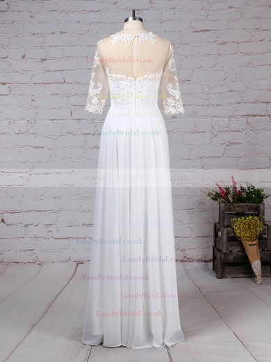 Chiffon Tulle Scoop Neck A-line Floor-length Appliques Lace Wedding Dresses #LDB00023279