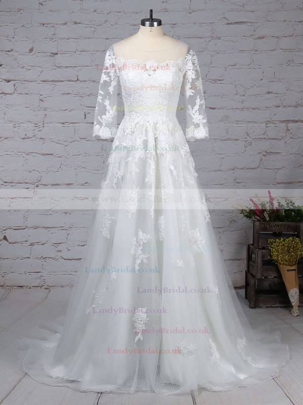 Tulle Scoop Neck Princess Sweep Train Appliques Lace Wedding Dresses #LDB00023162