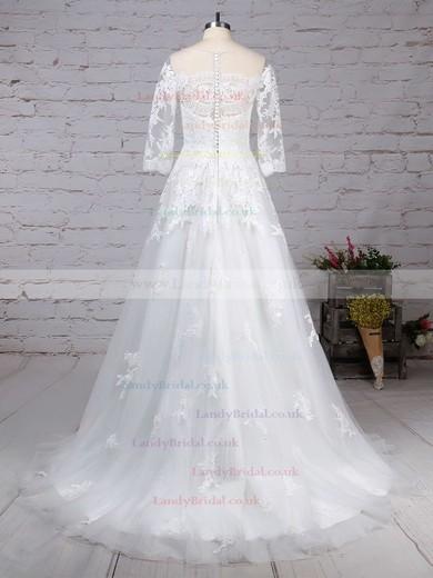 Tulle Scoop Neck Princess Sweep Train Appliques Lace Wedding Dresses #LDB00023162