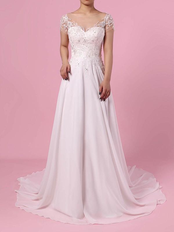Chiffon Tulle Scoop Neck A-line Sweep Train Beading Wedding Dresses #LDB00023165