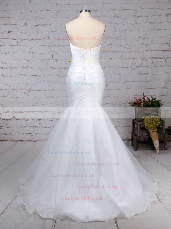 Tulle Sweetheart Trumpet/Mermaid Sweep Train Ruffles Wedding Dresses #LDB00023218