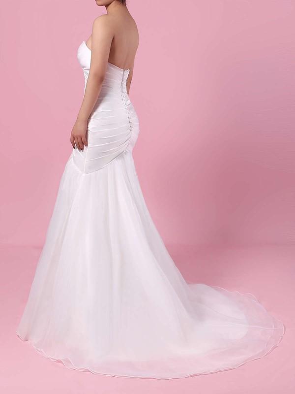 Tulle Sweetheart Trumpet/Mermaid Sweep Train Ruffles Wedding Dresses #LDB00023218