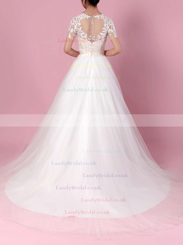 Tulle Scoop Neck Ball Gown Sweep Train Appliques Lace Wedding Dresses #LDB00023225