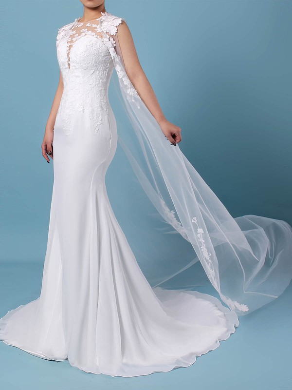 Tulle Chiffon Scoop Neck Trumpet/Mermaid Sweep Train Appliques Lace Wedding Dresses #LDB00023231