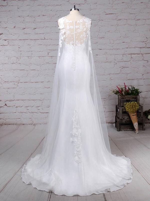 Tulle Chiffon Scoop Neck Trumpet/Mermaid Sweep Train Appliques Lace Wedding Dresses #LDB00023231