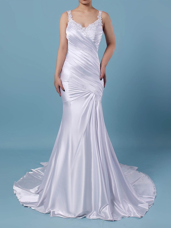 Tulle Silk-like Satin V-neck Trumpet/Mermaid Sweep Train Beading Wedding Dresses #LDB00023242