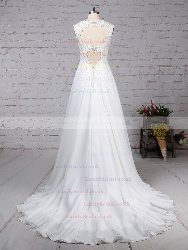 Chiffon Tulle V-neck Princess Court Train Beading Wedding Dresses #LDB00023244