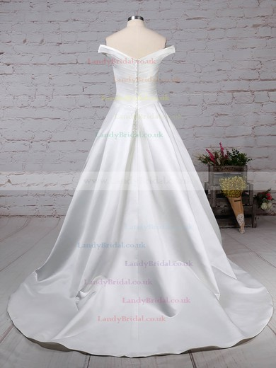 Satin Off-the-shoulder Ball Gown Sweep Train Ruffles Wedding Dresses #LDB00023252