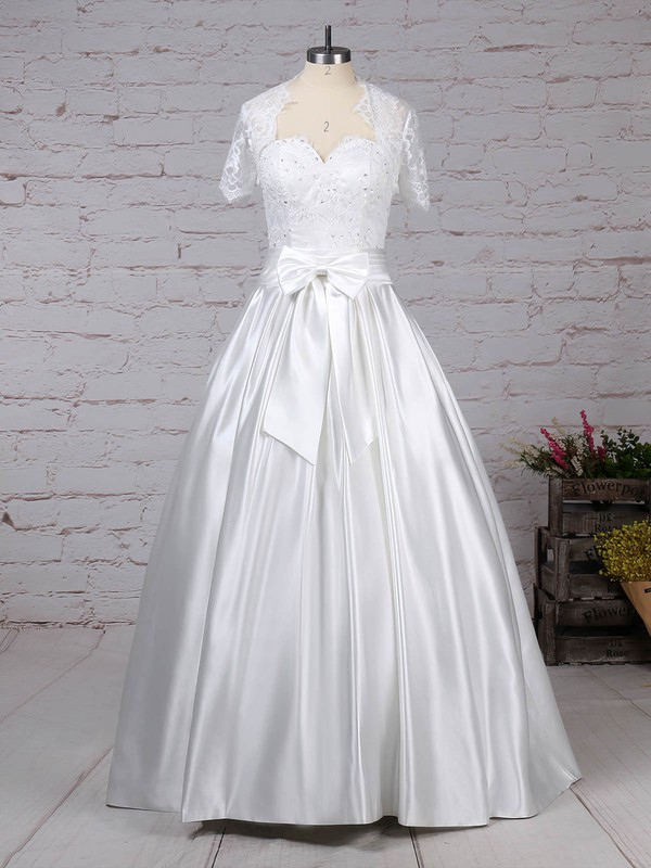 Lace Satin Sweetheart Ball Gown Floor-length Bow Wedding Dresses #LDB00023256