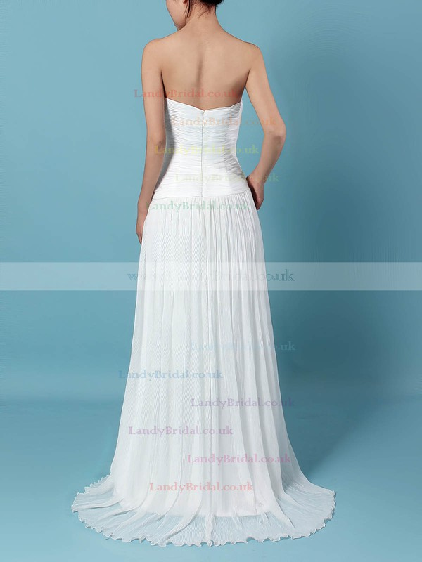 Chiffon Sweetheart A-line Sweep Train Beading Wedding Dresses #LDB00023260