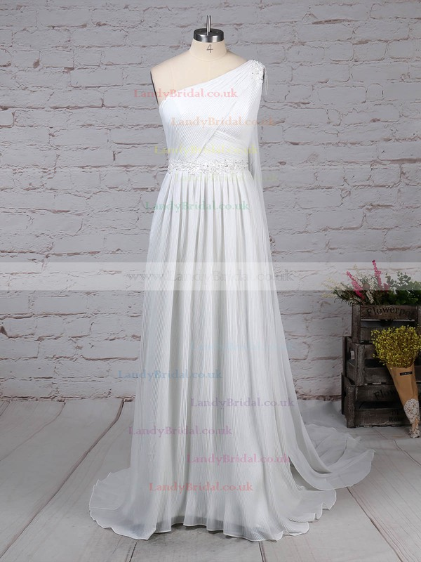 Chiffon One Shoulder Empire Sweep Train Beading Wedding Dresses #LDB00023261