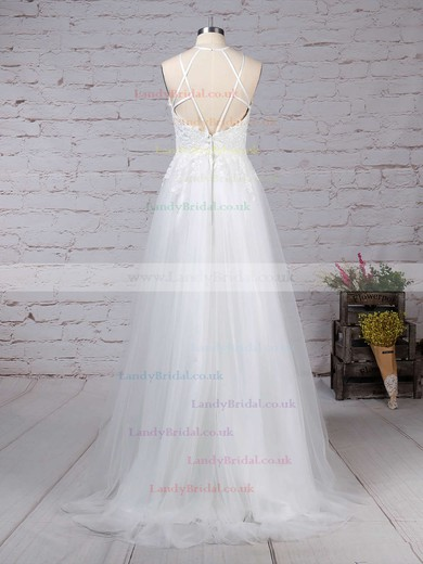 Tulle Scoop Neck A-line Sweep Train Appliques Lace Wedding Dresses #LDB00023266