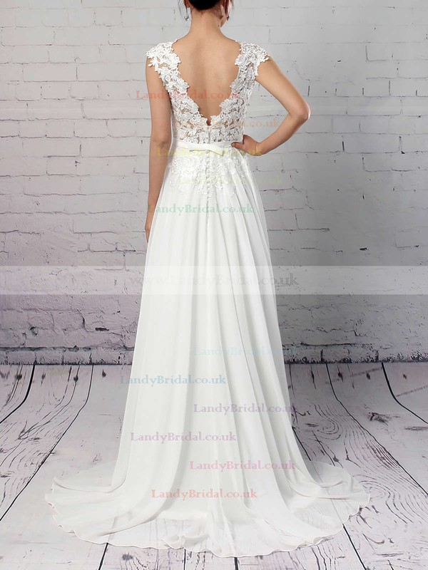 Lace Chiffon Scoop Neck A-line Sweep Train Sashes / Ribbons Wedding Dresses #LDB00023294