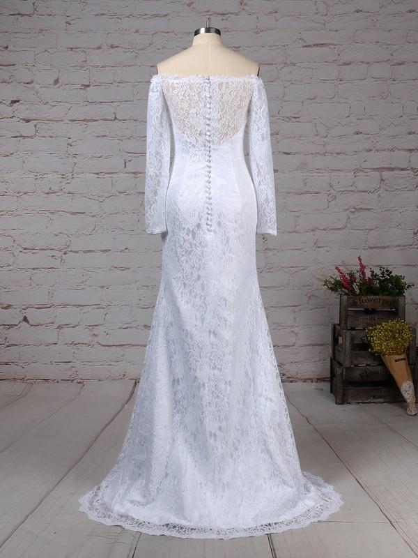 Lace Off-the-shoulder Trumpet/Mermaid Sweep Train Wedding Dresses #LDB00023298