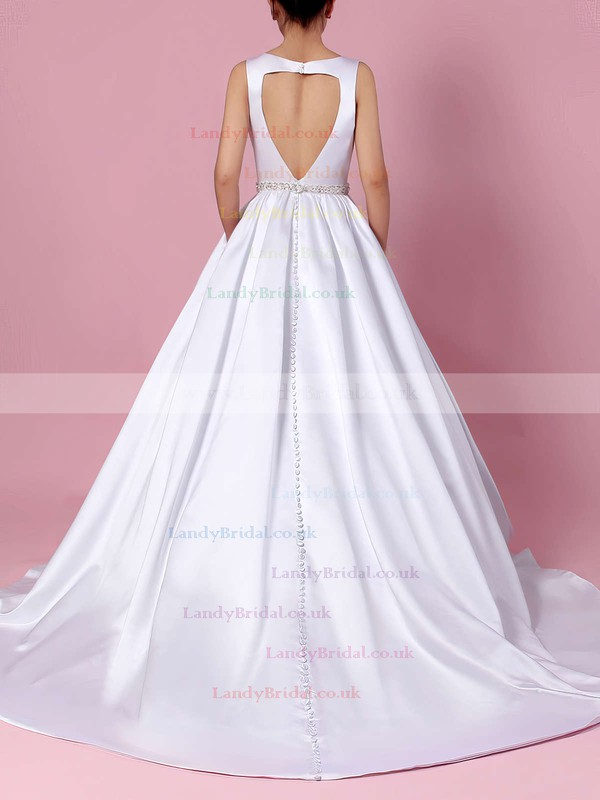 Satin V-neck Ball Gown Court Train Beading Wedding Dresses #LDB00023311