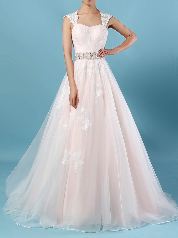 Tulle Sweetheart Ball Gown Sweep Train Appliques Lace Wedding Dresses #LDB00023176