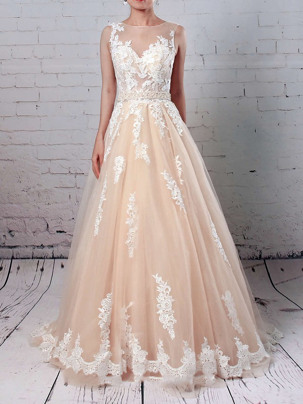 Tulle Scoop Neck Ball Gown Sweep Train Beading Wedding Dresses #LDB00023186