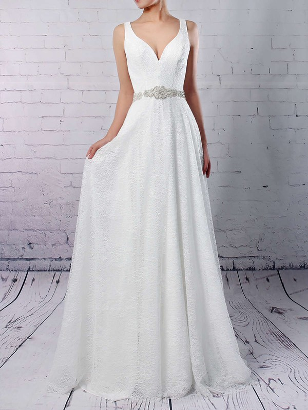 Lace Tulle V-neck A-line Sweep Train Sashes / Ribbons Wedding Dresses #LDB00023210