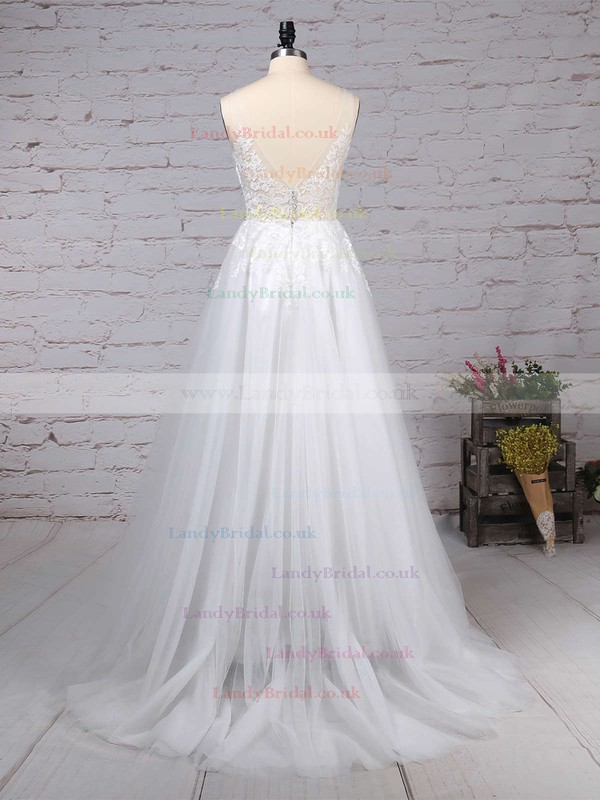 Tulle V-neck A-line Sweep Train Appliques Lace Wedding Dresses #LDB00023215