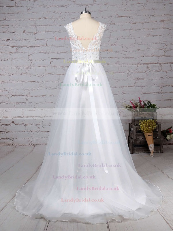 Chiffon V-neck Princess Sweep Train Appliques Lace Wedding Dresses #LDB00023282