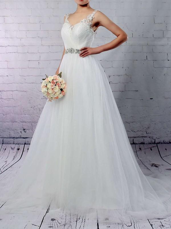 Tulle V-neck Princess Sweep Train Beading Wedding Dresses #LDB00023288