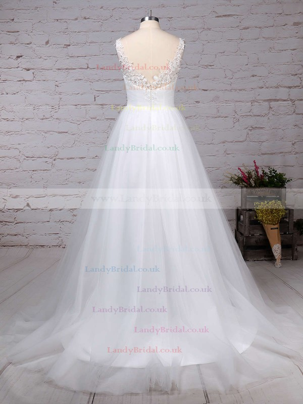 Tulle V-neck Princess Sweep Train Beading Wedding Dresses #LDB00023288