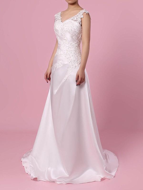 Satin Tulle V-neck Princess Sweep Train Appliques Lace Wedding Dresses #LDB00023301