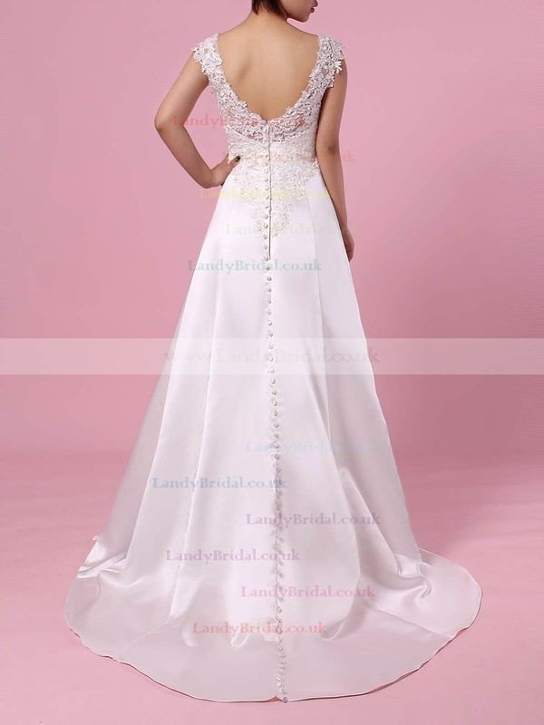 Satin Tulle V-neck Princess Sweep Train Appliques Lace Wedding Dresses #LDB00023301