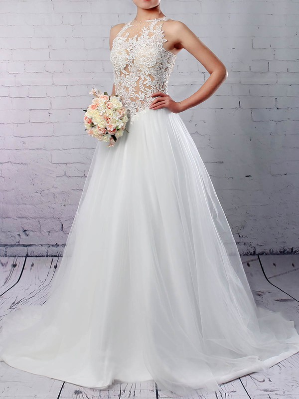 Tulle Scoop Neck Princess Sweep Train Appliques Lace Wedding Dresses #LDB00023309