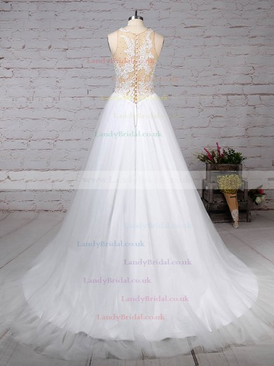 Tulle Scoop Neck Princess Sweep Train Appliques Lace Wedding Dresses #LDB00023309