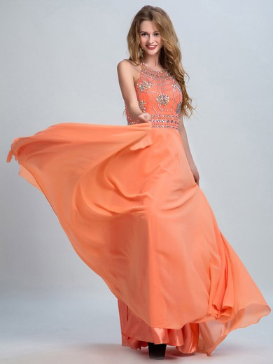 Popular Red Halter Open Back Chiffon Tulle Beading A-line Prom Dresses #LDB02015270